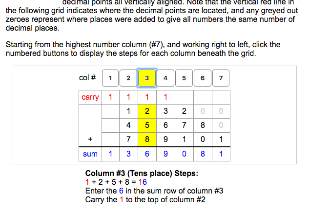 Example results from Long Addition Calculator for adding multiple whole numbers and decimals