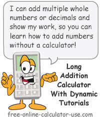 Long Addition Calculator Sign