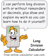 Calcy sign introducing Long Division Calculator