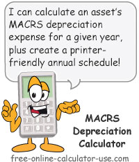 MACRS Depreciation Calculator Sign