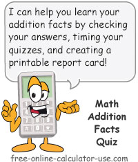 Calcy sign introducing Math Addition Facts Quiz