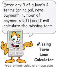 Calcy sign introducing Missing Term Loan Calculator