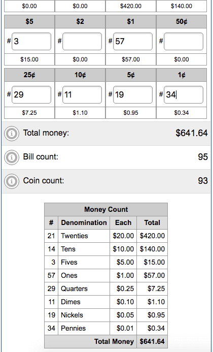 Example results from Money Counter Calculator for adding US bills and coins.
