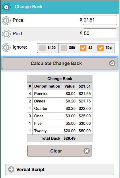 Example results from Change Back Calculator for learning how to count change back to a customer.