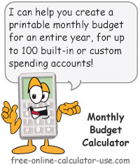 Calcy sign introducing Monthly Budget Calculator