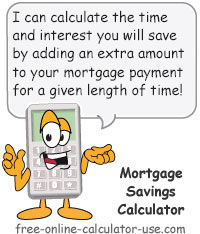 Calcy sign introducing Mortgage Savings Calculator