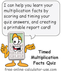 Calcy sign introducing Multiplication Quiz