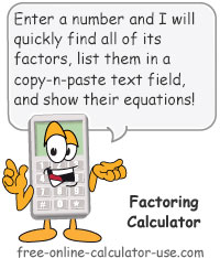 Calcy sign introducing Online Factoring Calculator