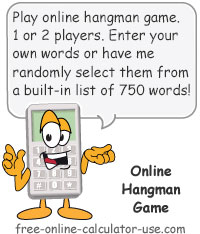 Calcy sign introducing Online Hangman Game
