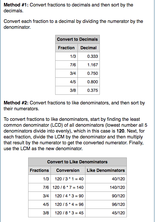 Example results from Ordering Fractions Calculator.