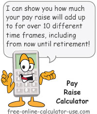 Calcy sign introducing Pay Raise Calculator