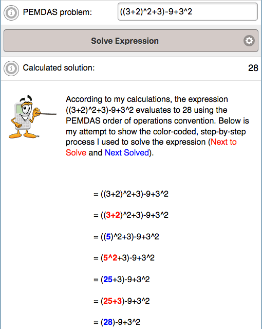 Example results from PEMDAS Calculator for solving order of operations problems.