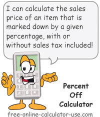 Calcy sign introducing Percent Off Calculator