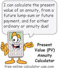 Calcy sign introducing Present Value Annuity Calculator