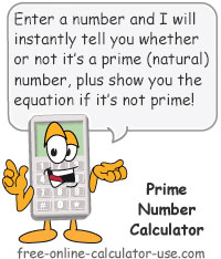 Calcy sign introducing Prime Number Calculator