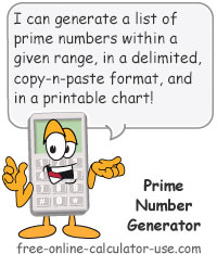 Calcy sign introducing Prime Number Generator