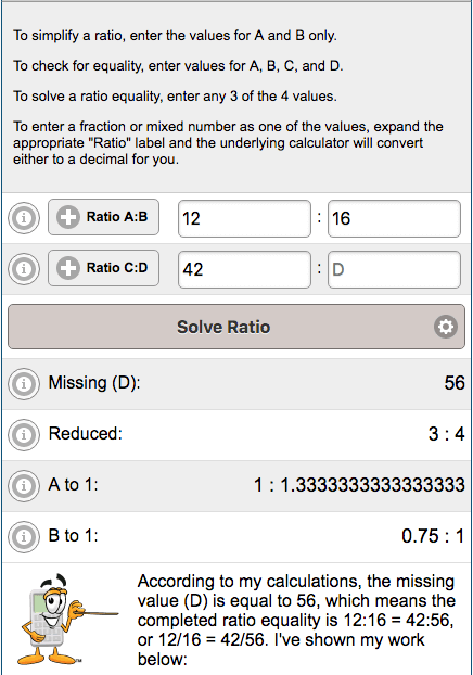 Example results from Ratio Calculator for adding any number of time blocks.
