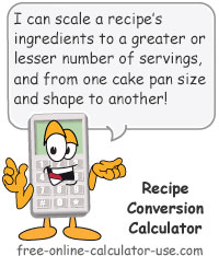 Calcy sign introducing Recipe Conversion Calculator