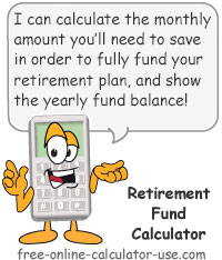Calcy sign introducing Retirement Fund Calculator