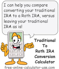 Calcy sign introducing Roth IRA Conversion Calculator