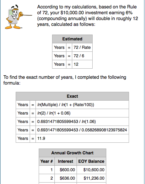 Example results from Rule of 72 Calculator that tells how long it will take for your money to double.