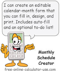 Calcy sign introducing Monthly Schedule Creator