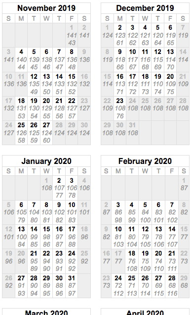 Example results from School Calendar Calculator showing class day number and number of school days left.