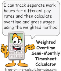 WOT Semi-Monthly Timesheet Calculator Sign