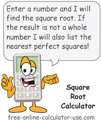 Calcy sign introducing Square Root Calculator