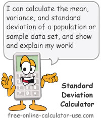 Calcy sign introducing Standard Deviation Calculator