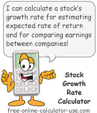 Calcy sign introducing Stock Growth Rate Calculator