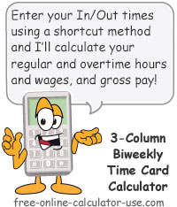 Calcy sign introducing Bi-weekly Time Card Calculator