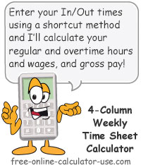 Time Sheet Calculator: Weekly: 4-Column  Sign
