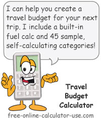 Calcy sign introducing Travel Budget Calculator