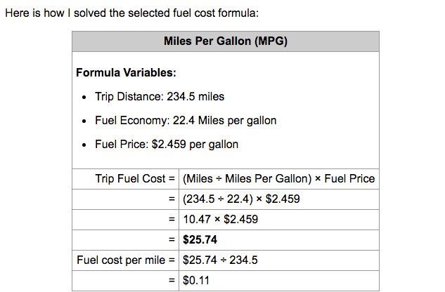 Example results from Trip Fuel Cost Calculator for converting miles to money