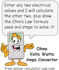 Ohms Volts Watts Amps Converter Sign