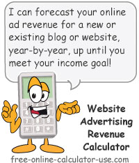 Calcy sign introducing Website Advertising Revenue Calculator