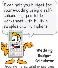 wedding budget calculator with load sample and averages option