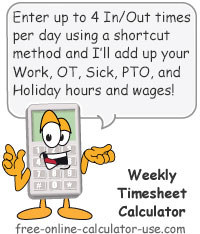 Weekly Time Sheet Calculator Sign