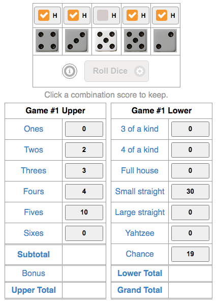 Example point calculations from Yahtzee Online Game.